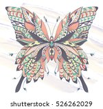patterned butterfly on the... | Shutterstock .eps vector #526262029
