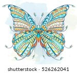 patterned butterfly on the... | Shutterstock .eps vector #526262041