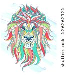 patterned head of the lion on... | Shutterstock .eps vector #526262125