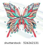 patterned butterfly on the... | Shutterstock .eps vector #526262131