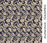 Stock vector floral pattern wallpaper baroque damask seamless vector background gold and blue ornament 526269841