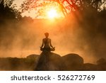 asian young woman doing yoga in ... | Shutterstock . vector #526272769
