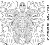 zentangle turtle in waves.... | Shutterstock .eps vector #526274485