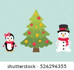 winter penguin and snowman and... | Shutterstock .eps vector #526296355