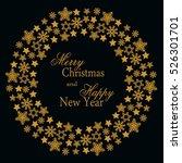 snowflake gold mandala. holiday ... | Shutterstock .eps vector #526301701