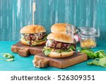 two hamburgers with beef burger ...   Shutterstock . vector #526309351