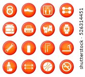 gym icons vector set of red...
