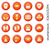 safety icons vector set of red... | Shutterstock .eps vector #526315294
