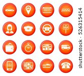 taxi icons vector set of red... | Shutterstock .eps vector #526315414