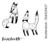 foxes doodle | Shutterstock .eps vector #526319617