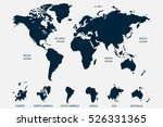 blue world map vector on white... | Shutterstock .eps vector #526331365
