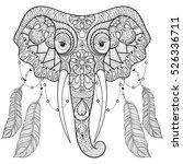 zentangle indian elephant with... | Shutterstock .eps vector #526336711