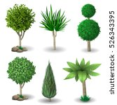 Set Of Ornamental Plants And...