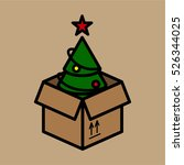 moving box christmas tree... | Shutterstock .eps vector #526344025