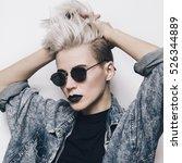 blue denim shirt. stylish... | Shutterstock . vector #526344889