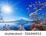 sunrise at the lake kawaguchiko ... | Shutterstock . vector #526346911
