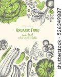 vegetables top view frame.... | Shutterstock .eps vector #526349887
