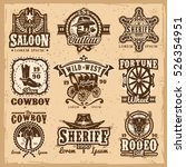 set of vector wild west logos ... | Shutterstock .eps vector #526354951