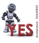 3D render of a robot with a yes sign - stock photo