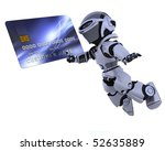3D render of a robot and charge card - stock photo