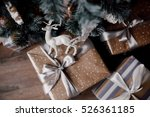 christmas gift boxes under the... | Shutterstock . vector #526361185