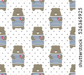 Cute Bear Seamless Pattern On...
