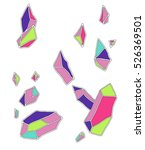 many crystals in green  pink ... | Shutterstock .eps vector #526369501