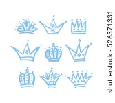 set of vector hand drawn crowns ... | Shutterstock .eps vector #526371331