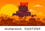 prehistoric cartoon... | Shutterstock .eps vector #526373569