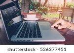 business woman use laptop... | Shutterstock . vector #526377451
