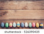 colorful pastel easter eggs on... | Shutterstock . vector #526390435