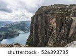 famous preikestolen rock in... | Shutterstock . vector #526393735