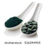 spoons of spirulina algae... | Shutterstock . vector #526394905