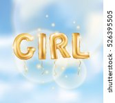 gold letter girl balloons.... | Shutterstock .eps vector #526395505