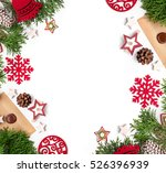 christmas still life. red toys  ... | Shutterstock . vector #526396939
