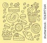 cute bakery doodles vector set | Shutterstock .eps vector #526397164