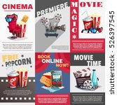 set of cinema posters with...
