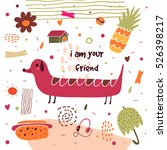 cute hand drawn postcard with...   Shutterstock .eps vector #526398217