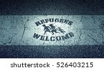 welcome refugees roadside sign  ... | Shutterstock . vector #526403215