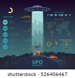 ufo infographic with disk beam... | Shutterstock .eps vector #526406467
