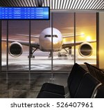 White Plane In Airport At Non...