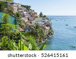 colorful hillside favela... | Shutterstock . vector #526415161