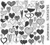 hearts monochrome valentines... | Shutterstock .eps vector #526416781