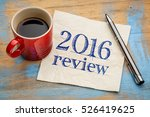 2016 review text on a napkin... | Shutterstock . vector #526419625