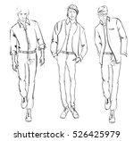 sketch. handsome stylish man... | Shutterstock .eps vector #526425979