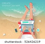 concept of working at the sea.... | Shutterstock .eps vector #526426219