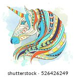 patterned head of the unicorn... | Shutterstock .eps vector #526426249