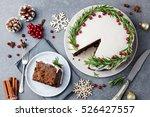 christmas fruit cake  pudding... | Shutterstock . vector #526427557