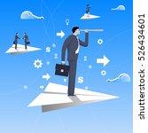flying on paper plane business... | Shutterstock .eps vector #526434601
