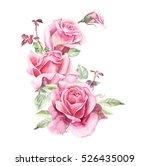 Stock photo rosebush pattern from pink rose wedding drawings watercolor painting greeting cards rose 526435009